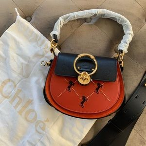 Chloe Small Tess bag calfskin horses embroidery